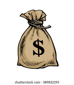 Sack of dollars. Bag of money. Hand drawn vector illustration. Isolated.