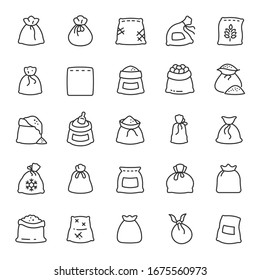 Sack, icon set. Bags with groats, sugar, flour, etc., various shapes, linear icons. Line with editable stroke