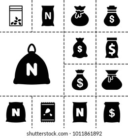 Sack icons. set of 13 editable filled sack icons such as bag with ground