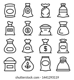 Sack icons set. Outline set of sack vector icons for web design isolated on white background