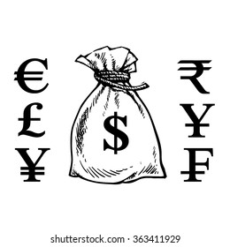 Sack of money with currency symbols: dollar, euro, yen, yuan,franc,pound,rupee. Hand drawn sketch of a bag of money.