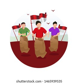 Sack race competition to welcoming Indonesia's independence day