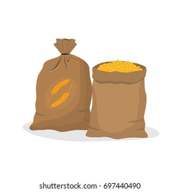 Sacks of grain.Vector illustration.