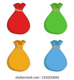 Sacks. Sacks icon. Sacks multicolored. Set of sacks. Vector illustration. EPS 10.