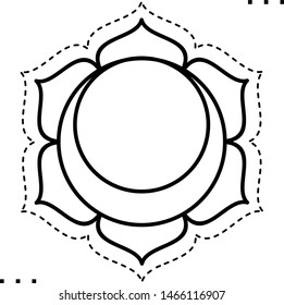 Sacral Chakra coloring illustration  in outline style for modification and customizing  according to a specific task.