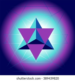 Sacral geometry pattern with star tetrahedron - vector illustration