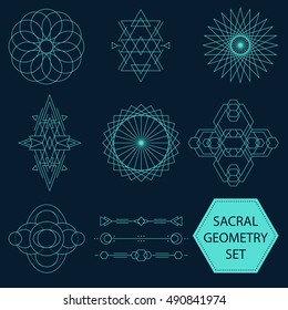 Sacral Geometry Vector Set of ten figures. Sacred geometrical shapes. Vector sacred geometric lines compositions and figures for boho or futuristic designs.