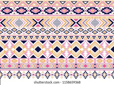 Sacral tribal ethnic motifs geometric vector background. Bohemian gypsy geometric shapes sprites tribal motifs clothing fabric textile print traditional design with triangles