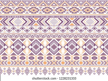 Sacral tribal ethnic motifs geometric vector background. Unusual gypsy tribal motifs clothing fabric textile print traditional design with triangles