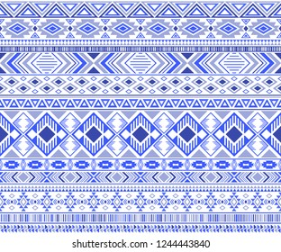 Sacral tribal ethnic motifs geometric vector background. Vintage gypsy tribal motifs clothing fabric textile print traditional design with triangles
