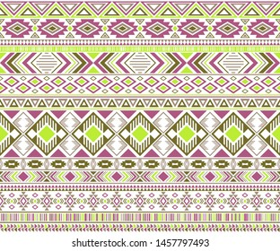 Sacral tribal ethnic motifs geometric vector background. Abstract gypsy tribal motifs clothing fabric textile print traditional design with triangles