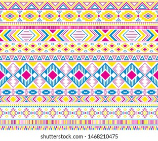 Sacral tribal ethnic motifs geometric vector background. Cute gypsy tribal motifs clothing fabric textile print traditional design with triangles