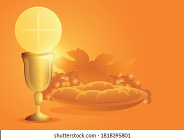 Sacrament of communion, Catholic church ceremony, Eucharist symbol with chalice, bread and grapes. Vector illustration