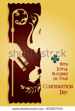 Sacrament Confirmation Symbolic Abstract Vector Illustration Stock