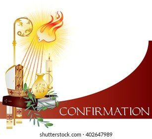 Sacrament of Confirmation, symbolic vector drawing illustration, with the holy olive oil and olive branch, a bishop's pastoral staff and mitre, a dove - symbol of the Holy Spirit.