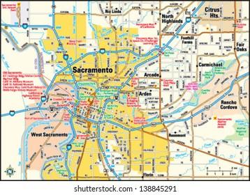 Sacramento, California area map