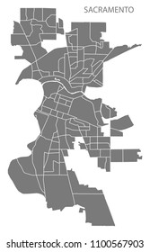 Sacramento California city map with neighborhoods grey illustration silhouette shape