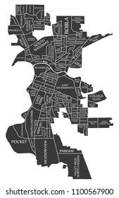 Sacramento California city map USA labelled black illustration