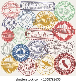 Sacramento California Set of Stamps. Travel Stamp. Made In Product. Design Seals Old Style Insignia.