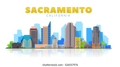 Sacramento California skyline vector lines illustration. Background with city panorama on a  sky. Travel picture.