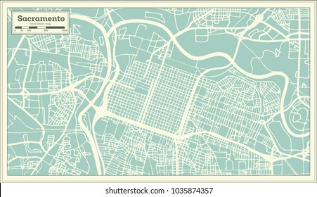 Sacramento California USA City Map in Retro Style. Outline Map. Vector Illustration.
