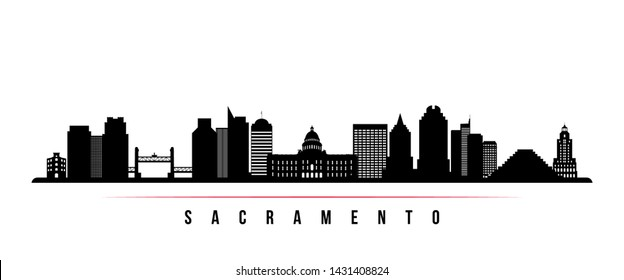 Sacramento city skyline horizontal banner. Black and white silhouette of Sacramento city, California USA. Vector template for your design.