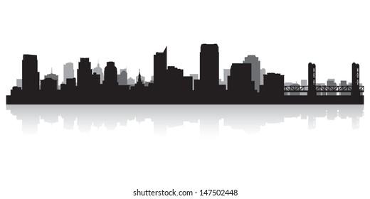 Sacramento USA city skyline silhouette vector illustration