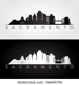 Sacramento USA skyline and landmarks silhouette, black and white design, vector illustration.