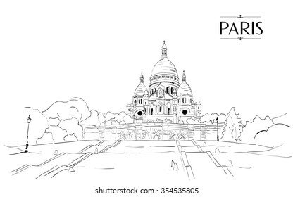 Sacre Coeur in Paris - Vector drawing freehand vintage illustration.