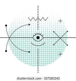 Sacred abstract geometry alchemy symbols. Eye in the centre of graph, dotted background and cross arrows. Mystic signs.