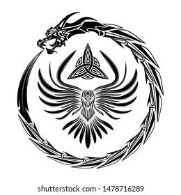 Sacred Celtic symbols. Dragon and raven. Norman culture. Fantastic snake. Triskelion. Triskele. Valknut. Scandinavian tattoo. Sign of Vikings. Vector illustration.