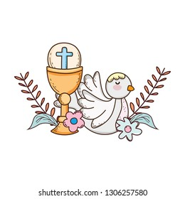 sacred chalice religious with dove bird