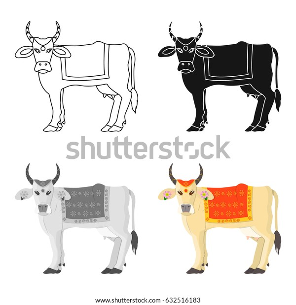 Sacred cow icon in cartoon style isolated on white background. India symbol stock vector illustration.