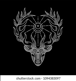 Sacred Deer Wapiti line art artwork for t-shirt