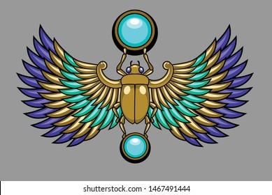 Sacred egyptian symbol - scarab beetle, vector graphics