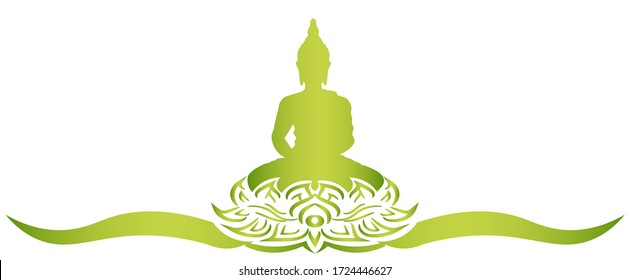 Sacred fig or Pipal tree leaf Buddha Purnima or Vesak day vector illustration