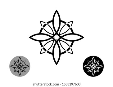 sacred flower, Celtic like style linear star with circle symbol. Linear knot logo, Wiccan symbol for protection, mystical geometry. Set Wicca Ancient occult divination icon. Vector isolated on white