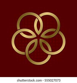 Sacred geometric symbol of five flower petals plexus. Golden mandala logo.