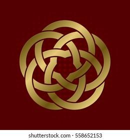 Sacred geometric symbol of five petals plexus. Golden mandala logo.