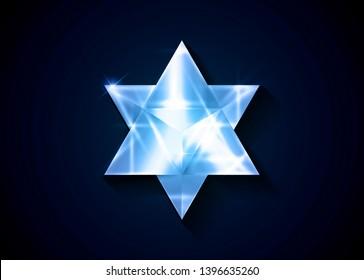 Sacred geometry. 3D crystal Merkaba geometric triangle shape. esoteric or spiritual symbol.