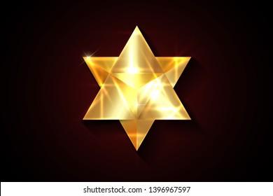 Sacred geometry. 3D gold Merkaba thin line geometric triangle shape. esoteric or spiritual symbol. isolated on black background.