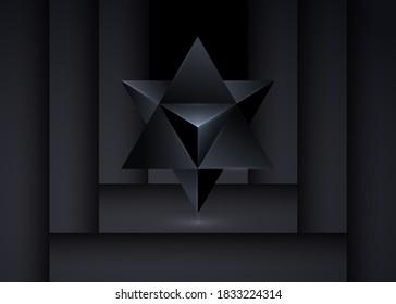 Sacred geometry. 3D Merkaba thin line geometric triangle shape. esoteric or spiritual symbol. isolated on black background. Dark Star tetrahedron icon. Light spirit body, wicca esoteric divination