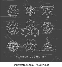 Sacred geometry abstract signs set, tattoo, photo overlay. Alchemy linear modern art. Religion, astrology mystery tribal aztec emblem. Esoteric, science, hipster symbol. Vector logo, t shirt print
