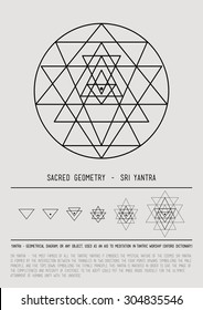 Sacred geometry and alchemy symbol. Sri Yantra - symbol of Hindu tantra formed by nine interlocking triangles that radiate out from the central point. Grey and black. Stock vector.