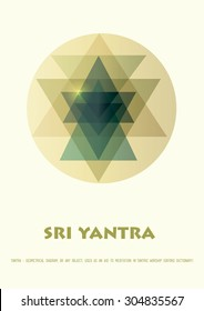 Sacred geometry and alchemy symbol. Sri Yantra - symbol of Hindu tantra formed by nine interlocking triangles that radiate out from the central point. Amber colored. Stock vector.