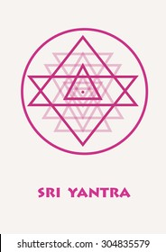 Sacred geometry and alchemy symbol. Sri Yantra - symbol of Hindu tantra formed by nine interlocking triangles that radiate out from the central point. Violet colored. Stock vector.