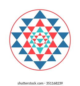 0baa154ad Sacred geometry and alchemy symbol Sri Yantra, formed by nine interlocking  triangles that surround and