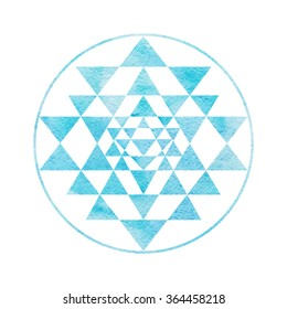Sacred geometry and alchemy symbol Sri Yantra, formed by nine interlocking triangles that surround and radiate out from the central point. Blue Watercolor texture.