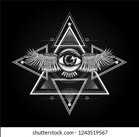 Sacred geometry with all seeing eye and wings. Sketch for print t shirt and tattoo art. Ancient symbol. Surreal symbol.