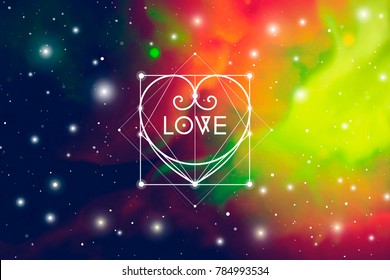 Sacred geometry astrology Valentine greeting card with geometric hipster style heart on colorful outer space background.
